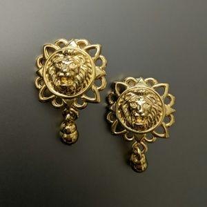 Vintage Anne Klein Lions Head clip on earrings